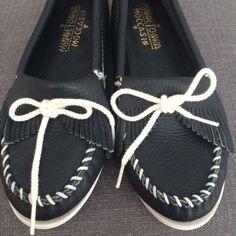 Minnetonka Moccasin. Navy leather, white sole. Size 7.5. Worn once. Minnetonka Shoes