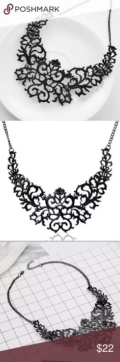 Dark Royalty Gunmetal Statement Necklace Gunmetal Lobster claw clasp Zinc alloy  Folding necklace for easy protective storage Excellent high quality NEW boutique item with tag/packaging.  Gorgeous necklace wether for a formal or informal occasion, can be dressed up or down! Very versatile 🖤💜  #Shopwithconfidence #Ambassador #Toprated #TopSeller #Fastshipper 🌟  Punk fashion goth gothic fashion tree branch link Jewelry Necklaces