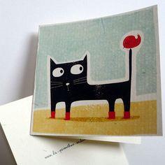 Nouvelle année, Carte, Gaspard le chat à bottes C164 est une création orginale de la-parenthese-enchantee sur DaWanda