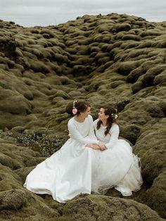 We love these brides' elegant two piece bridal gowns | Image by Styrmir Kári & Heiðdís Photography Wedding Blog, Our Wedding, New Journey, Elopement Inspiration, Seaside, One Shoulder Wedding Dress, Backdrops, Wedding Planning, Marriage
