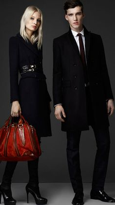Burberry London wool blend military coat and suede bowling bag