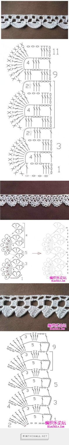 More easy crochet lace edgings charted and samples by MyPicot. Originally from the Home Work book, published 1891.