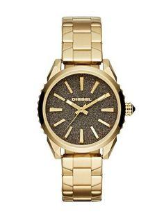 e8e3c024b Diesel Nuki Light Brown Dial Gold Tone Stainless Steel Unisex Watch DZ5474