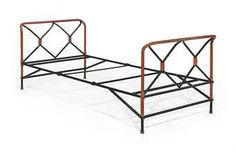 JACQUES ADNET (1900-1984)   leather and painted metal daybed c1950