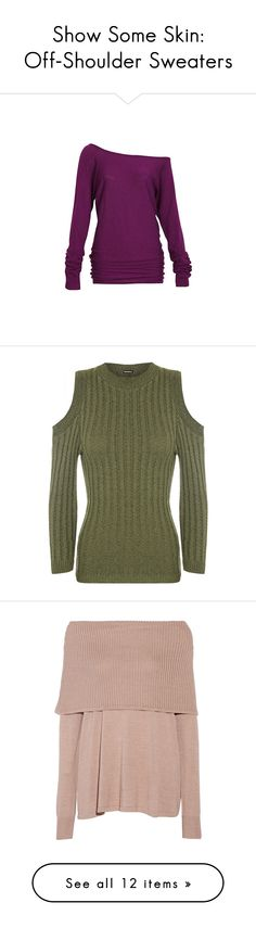 """""""Show Some Skin: Off-Shoulder Sweaters"""" by polyvore-editorial ❤ liked on Polyvore featuring sweaters, offshoulder, tops, long sleeves, shirts, berry, off shoulder sweater, ruched shirts, long sleeve shirts and purple long sleeve shirt"""