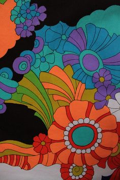 60s wild psychedelic floral : Vintage