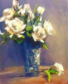 "Daily Paintworks - ""White Roses"" - Original Fine Art for Sale - © Doug Carter"