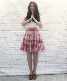 Vintage 90s Plaid Tiered Circle Skirt Red White Country Folk Bluegrass Music Fest Square Dance by PopFizzVintage on Etsy