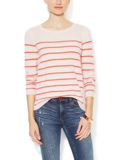 Cashmere Striped Crewneck Sweater by Elorie at Gilt