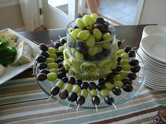Purple and Green Grape skewers--for shower. maybe purple grapes and marshmallows??