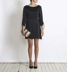 Sambag Lana - black silk drawstring dress, $180