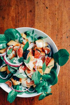Healthy Recipes : Fig and Cantaloupe Salad with Watercress in a Garlic Lime Dressing Fall Recipes, Whole Food Recipes, Cooking Recipes, Cantaloupe Salad, Melon Salad, Vegetarian Recipes, Healthy Recipes, Tasty, Yummy Food