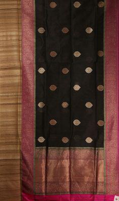 Benares silk saree or sari. Banarsi Saree, Kanjivaram Sarees, Silk Sarees, Saris, South Indian Sarees, Ethnic Sarees, Indian Dresses, Indian Outfits, Black Saree