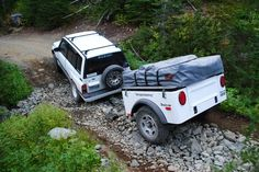 Backcountry adventure with a Jeep style off road trailer on Fortune Creek trail in WA