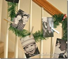 Today I'm sharing our simple photo garland for the banister. We've used this garland for a few years now, and I still love it. It's a simpl. Christmas Photo Cards, Christmas Photos, Winter Christmas, Christmas Time, Christmas Crafts, Christmas Decorations, Christmas Stuff, Christmas Ideas, Merry Christmas