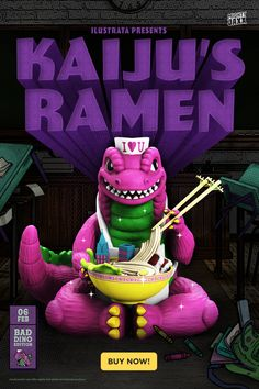 """⚠️ STOMP! STOMP! STOMP! ⚠️ Ready or not, here Kaiju's Ramen (Bad Dino Edition) comes! Add a blast of purple awesomeness to your Kaiju's Ramen collection with this 3rd colorway inspired by our favourite dino. Yes, this dino can count to 3! Get your claws on Kaiju's Ramen (Bad Dino Edition) by @ilustrata via www.mightyjaxx.rocks now. ~7.5"""" Vinyl Art Collectible // $179 With Free Shipping #mightyjaxx #ilustrata #arttoy #kaijuramen #kaiju #monster #ramen #vinyl #comingsoon Designer Toys, Vinyl Art, Claws, Ramen, Count, Rocks, Free Shipping, Inspired, Purple"""