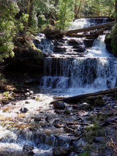 Alger County Waterfall Gallery - The Upper Peninsula of Michigan Michigan Vacations, Upper Peninsula, Campsite, Great Photos, Waterfalls, Winter Wonderland, Trips, Beautiful Places, Marble