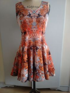 Handmade, Roma Jersey Gothic Print Fit and Flare Dress.