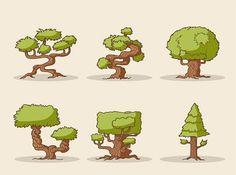 6 cartoon tree design vector - Free Vector Downloads - Free Vector Illustrations, Free Vector Graphics