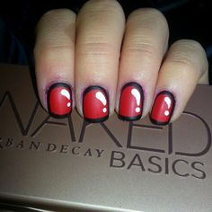 Cartoon nails! #nails #nailart #matte #manicure #red #black