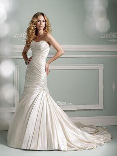 satin strapless mermaid beaded sweetheart pleated dropped waist #wedding #dress. $ 890.00 off $370.00