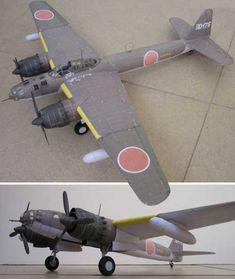 This aircraft paper model is a Yokosuka Ginga, a twin-engine, land-based bomber developed for the Japanese Imperial Navy in the World War II, the paper