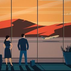 I want to  somewhere and get lost!  Art by the amazing @alex247 #design #illustration #art #artistsoninstagram #couple #airport #vector #mountains #humpday #plane #travel #traveling #travelgram #wanderlust #businesscasual #adobe #crop #wip #luggage #moody #texture #miami #plant #airplane #landscape #travelvibes #freelance