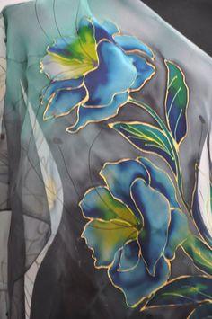 Blue exotic Scarf/Hand painted Silk Scarf/Painting by hand shawl/Woman Long Silk Scarf/Silk Chiffon luxury Scarf/Woman silk sonali Mohanty Saree Painting, Dress Painting, Fabric Painting, Hand Painted Sarees, Hand Painted Fabric, Painted Silk, Black Flowers, Exotic Flowers, Fabric Paint Designs