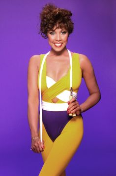 Diahann Carroll, 1992 | Caroll continued the leggings workout movement and brought it into the '90s when she posed for a portrait in a chartreuse pair, complete with a cut-out one-piece and a jump rope draped around her neck.