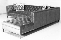 The Hollywood Sectional by ModShop. The Hollywood sofa gets a boost in scale in the sectional. Finished in Brussels Charcoal velvet fabric, polished chrome nail heads and our chrome legs, this section