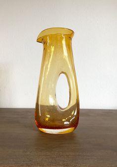 Vintage Amber Glass Pitcher Hand Blown Glass Carafe by Speckadoos #GotVintage #Vintage #Glass