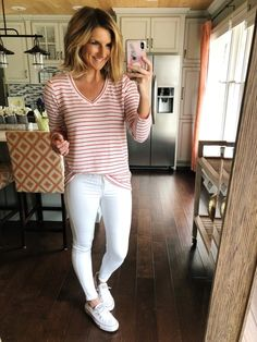 Simple Vacation Outfit // What to Wear on Vacation // Striped Top + White Jeans + Slip On Sneakers // Spring Fashion // Cute Spring Outfit #shopthelook #sscollective #simplespringoutfitwithsneakers #simplespringoutfit #simpleoutfit #cutespringoutfit #springfashion #stripedtop #whiteskinnyjeans #whitejeans #converseshorelinesneakers #sneakers #whitesneakers