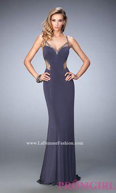 V-Neck Open Back Long La Femme Prom Dress Style: LF-22461