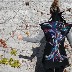 felted clothing -hand felted coat -nuno felted- sleeveless long vest - Tree of Life. $585.00, via Etsy.