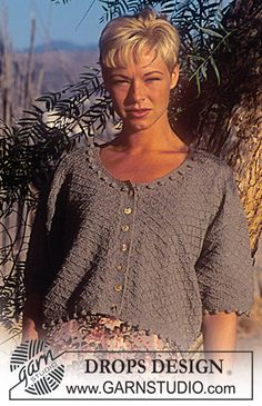 DROPS 42-4 - DROPS Jacket in Silketweed with bobbles - Free pattern by DROPS Design