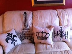 Paris bedroom pillows - by daisysgiftshop.etsy.com