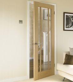 Worcester Oak glazed door Would need to be painted white to look it's best with dark oak at Pen-y-Bryn