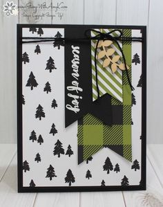 I used the Stampin' Up! Christmas Pines stamp set and some of the beautiful Merry Little Christmas DSP from the upcoming 2017 Holiday catalog to create my card to share today.