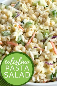 Coleslaw pasta salad is so creamy and the perfect pasta salad. Ditalini pasta, cucumbers, celery, and colelsaw mix in a creamy dressing. Dinner Side Dishes, Side Dishes For Bbq, Dinner Sides, Vegetable Side Dishes, Side Dish Recipes, Brisket Side Dishes, Bbq Recipes Sides, Side Salad Recipes, Summer Side Dishes