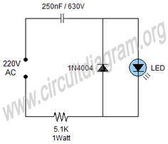 Simple 220V Mains Indicator LED Circuit Diagram Diy ElectronicsElectronics ProjectsElectrical