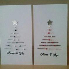 Kerstkaartjes  met draad, kraaltjes en naald!