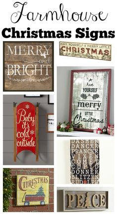 farmhouse style christmas signs more - Christmas Decor Signs