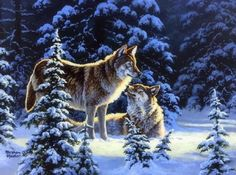 Winter Romance - forests, nature, winter, attractions in dreams, love four seasons, Winter Romance, animals, xmas and new year, pair, paintings, wolves, white trees, snow