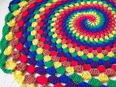Spiral rainbow blanket by PinkyRoo on Etsy, $49.90