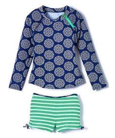 c17f59dda Look what I found on Navy & Kelly Green Floral & Stripe Rashguard Set -  Infant & Kids by Cabana Life