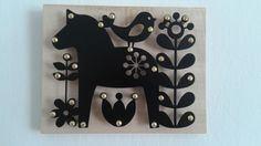 Powder coated black metal wall decoration on wood, dalarna horse, raggio