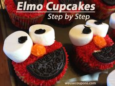 Elmo.. made these for the lil guy today and after a few alterations to the decorations they looked just like Emo..