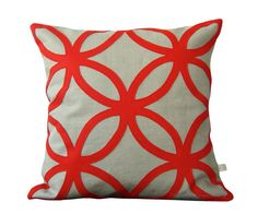 Mod Red DECORATIVE PILLOW - Geometric Felt Design - Home Decor by JillianReneDecor Interior Design Poppy Red Gift for Her - CIJ on Etsy, $110.00