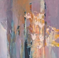 "Contemporary Abstract Painting by Joan Fullerton, ""Glimpses of Spring"" 30x30 http://JoanFullerton.com"