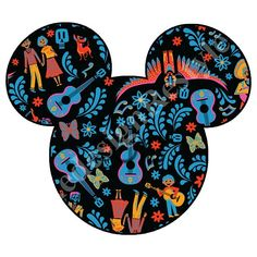 Disney Coco Inspired Iron-On Digital File Mickey Mouse Art, Mickey Head, Disney Iron On Transfers, Mickey And Friends, Transfer Paper, Disney Trips, Disney Magic, All Art, Digital